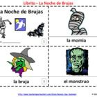 Spanish Noche de Brujas / Halloween Booklets - Each contains 8 pages; one with clip art images and text, one with text only so students can illustrate their own booklets.