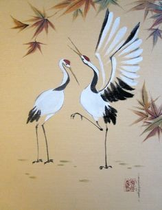 """Crane Seranade"" watercolor on silken illustration board by Tracie Griffith Tso of Reston, Va."