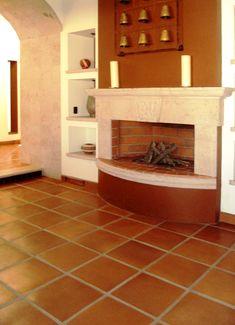 Terracota Floor Tile Terracota Floor, Quarry Tiles, Door Gate Design, Hearths, Modern Home Interior Design, Patio Flooring, Mediterranean Homes, Brick And Stone, Fireplace Wall