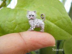 1/2 Inch Micro Grey Cat Kitten - Tiny Crochet Miniature Cat Amigurumi - Made to Order