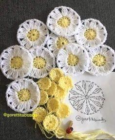 Patrones de Flores en crochet ll We are want to say thanks if you like to share … Crochet Flower Squares, Crochet Daisy, Crochet Motifs, Crochet Flower Patterns, Crochet Diagram, Love Crochet, Beautiful Crochet, Diy Crochet, Irish Crochet