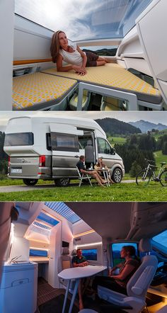 VW California XXL Concept is the Ultimate Camper Van, Includes Super High Roof Kombi Motorhome, Camper Trailers, Custom Camper Vans, Kombi Home, Van Home, Sprinter Camper, Bus House, Camper Van Conversion Diy, Cool Campers