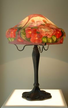 Lamp with Reverse Painted Puffy Shade Flowers | eBay