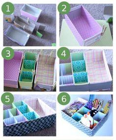 Crea un organizador con cajas. # DIY ¿Qué te parece?  www.quintaencinos.com