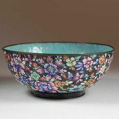Chinese Enameled Bowl Chintz Florals Aqua Blue Interior Rice TEA Footed | eBay