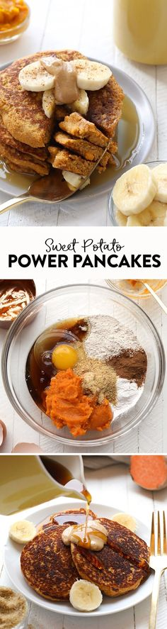 morning out right with these Sweet Potato Power Pancakes! Theyre made with 100 oat flour and sweet potato puree and are packed with vitamin A and fiber so youll feel energized all day long. Sweet Potato Pancakes, Heathy Pancakes, Oat Flour Pancakes, Sweet Potato Dessert, Oat Muffins, Sweet Potato Breakfast, Pumpkin Pancakes, Breakfast Pancakes, Potato Puree