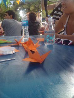 Algunas #Grullas terminadas. #Origami en el #MovistarFreeMusic