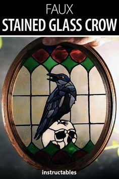 Nikkalcaraz created this faux stained glass crow window decoration by painting on a piece of glass with decorative frame. #Instructables #decor #home #art Activities For Dementia Patients, Fun Crafts, Arts And Crafts, Glass Cutter, Faux Stained Glass, My Glass, Learn To Paint, Crow, Decorating Tips