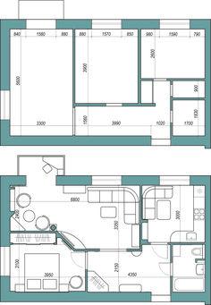 перепланировка двухкомнатной квартиры на последнем этаже