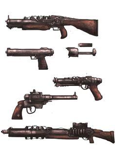 Retro-Futuristic Weapon concepts by BoxofLizards on DeviantArt