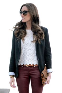 burgundy leather pants and pretty lace top