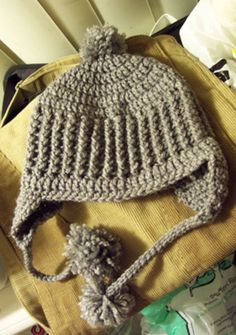 Ribbed Ear Flap Hat w/ Pom Poms! - CROCHET -- Inspiration