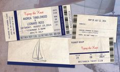Nautical Ticket Style Wedding Invites with Ticket by Idowithyou, $3.00