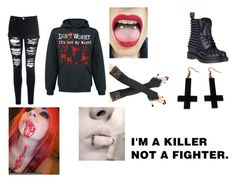 """""""dont worry, its not my blood."""" by alexanxiety ❤ liked on Polyvore featuring Glamorous, Dr. Martens and Chicnova Fashion"""