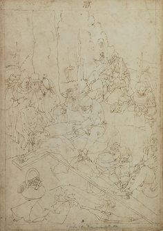 Albrecht Durer (1471-1528), Christ being Nailed to the Cross, pen and brown ink, within drawn brown ink framing lines, on paper, Watermark: Trident, 29.2 by 20.6 cm, 11 1/2 by 8 1/8 in.