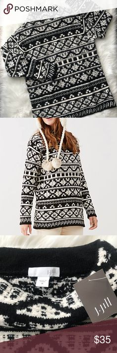 NWT J. Jill Jacquard Black and White Sweater- Med Super cozy and warm sweater new with tags. See pics of measurements and if you have any questions please ask. J. Jill Sweaters
