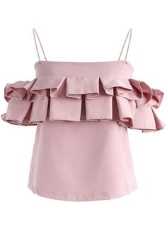 Pleasant to Dance Ruffle Cold-shoulder Top in Pink - New Arrivals - Retro, Indie and Unique Fashion