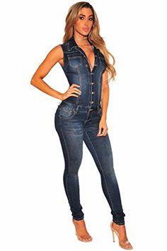 615775bfd81e TieNew 2018 Mujer Sexy Jeans Monos de Vaquero con Mangas Jeans para Mujer  Jumpsuit Largo y