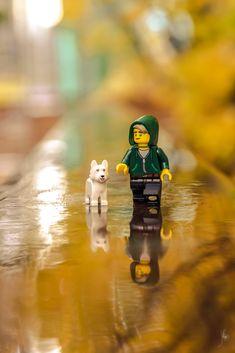 "legosaurus: "" Autumnal Walk Image by Julien Ballester "" Lego Spiderman, Lego Marvel, Figure Photography, Lego Photography, Lego Ninjago Nya, Legos, Lego Pictures, Lego Construction, Street Photography"
