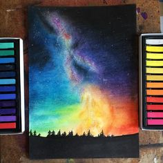 Soft pastels easy drawing – sunset scenery – for beginners easy tutorial step by step Soft Pastel Art, Chalk Pastel Art, Pastel Artwork, Oil Pastel Paintings, Chalk Pastels, Pastel Colours, Soft Pastels, Watercolor Paintings, Encaustic Painting