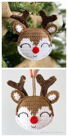 Cute Rudolph Ornament Free Crochet Pattern - DIY Magazine Always wanted to be able to knit, however unclear the place to start? That Utter Beginner Knitting Series is exactly wha. Knitted Christmas Decorations, Crochet Christmas Ornaments, Christmas Crochet Patterns, Holiday Crochet, Crochet Toys Patterns, Noel Christmas, Christmas Knitting, Crochet Gifts, Handmade Christmas