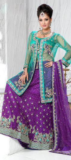 83385: Purple and Violet color family Bridal Lehenga.