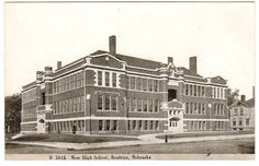 Vintage 1910s Beatrice Nebraska Postcard New High School Black and White