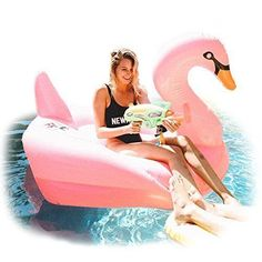 Frugal Swimline Led Swan & Giraffe Ride On Pool Float Combo Pk Clear And Distinctive White Swan Flamingo