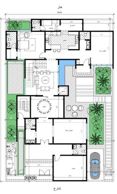 مخططات فلل (@AL1000A) | تويتر Simple House Plans, Family House Plans, New House Plans, Dream House Plans, House Floor Plans, House Layout Plans, House Layouts, House Floor Design, Square House Plans