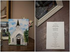 painting of the chapel at whitestone and wedding program