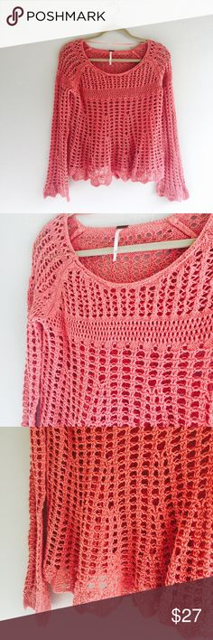 FREE PEOPLE Crochet Romantic Pullover Sweater FREE PEOPLE Crochet Cardigan Romantic Bohemian Pullover Sweater  Size XS  Peach Orange Pink color Super cute to layer with a tank and shorts or jeans! Preowned good used condition Free People Sweaters Crew & Scoop Necks