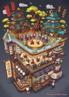 The Samurai Salmon Sushi, Animation: Me // Illustration: Bangzheng Du, Digital, 2019 : Art Isometric Art, Isometric Design, Fantasy Landscape, Fantasy Art, Fantasy House, Images Kawaii, Salmon Sushi, Sushi Art, Sushi Sushi