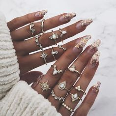 Shop & Buy 16 Pcs/set Women Vintage Gem Crown Crystal Geometry Star Gold Finger Ring Set Boho Charm Wedding Jewelry Engagement Accessories Online from Aalamey Cute Jewelry, Jewelry Gifts, Jewelry Accessories, Jewelry Design, Accessories Online, Jewellery, Jewelry Ideas, Unique Rings, Beautiful Rings