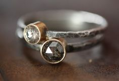 Large SilveryBlack Rose Cut Diamond Ring  engagement by LexLuxe, $445.00