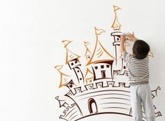 Wall Decal Castle nursery  children room  decals Sticker Removable Vinyl  -  wall decal room decoration vinyl self adhesive