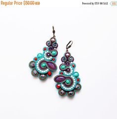 Soutache earrings. Soutache jewelry. by Soutachebypanka on Etsy