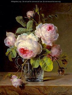 Roses in a Glass Vase on a Ledge - Cornelis van Spaendonck