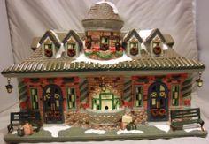 ST NICHOLAS SQUARE VILLAGE SQUARE TRAIN STATION CHRISTMAS HOLIDAY BUILDING KOHLS