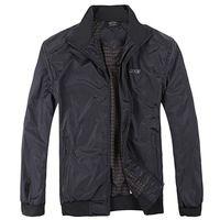 Nuevo 2015 para hombres de moda chaqueta de ocio de la marca de ropa negocio del Collar del soporte de la chaqueta militar cazadora cremallera deporte capa L-XXXL