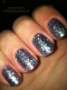 Soak Off Gel- Glitter Rockstar Nails -Blue, Purple, Gold Mix #nails #nailpolish #manicure
