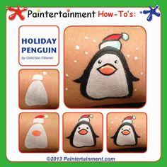 Pinguïn schminken als cheekart. Zo doe je dat.