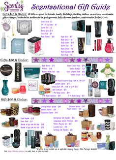 Gifting Guide Scentsy Cheap Gift Ideas warmers, scentsy buddies,bath & body, perfumes, laundry care, purse & pocket and so much more! Great gifts for all occasions check out my site..... http://dianes83.scentsy.us