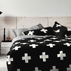 Crosses black quilt cover. Visit www.hardtofind.com.au for a beautiful collection of quality bedlinen.