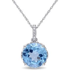Love this Swiss Blue Topaz & Diamond Brilliant-Cut Pendant Necklace on #zulily! #zulilyfinds