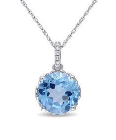 Love this Swiss Blue Topaz & Diamond Brilliant-Cut Pendant Necklace on #zulily! #zulilyfinds