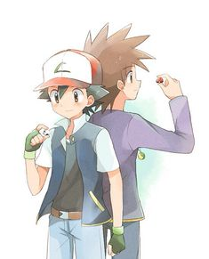 Ash and Gary. Their lucky pokebal halves! I remember that episode OMG the feelssss!