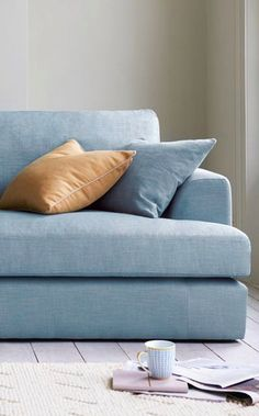 Blue bring calm, peace and serenity to a space so grab a mug, and settle down in this space. Find inspiration for your next sofa here