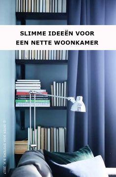 Staar jij ook naar de boeken in je woonkamer? Ga voor wandplanken aan de muur en hang er een groot gordijn voor om je bibliotheek netjes te verbergen. MAJGULL Verduisteringsgordijnen 1 paar, 39,99/st .#IKEABE #IKEAidee  Are you constantly staring at books in your living room? Mount a few book shelves and opt for a curtain to keep your library hidden. MAJGULL Curtains, 39,99/pce. #IKEABE #IKEAidea