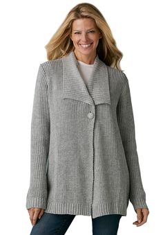 Sweater, cardigan style, in Shaker stitch with shawl collar | Plus Size New Arrivals | Woman Within $29.99