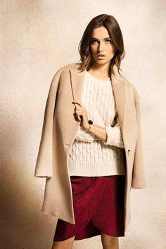 Massimo Dutti September 2012. Alpaca wool coat, cableknit sweater, crossover jacquard shirt.